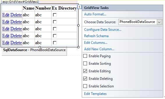enabling editing and selection for a gridview