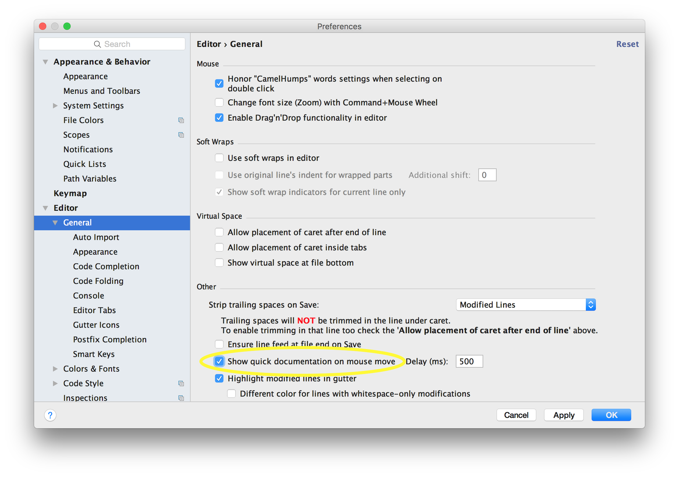 screenshot showing how to enable quick documetation in IntelliJ IDEA preferences