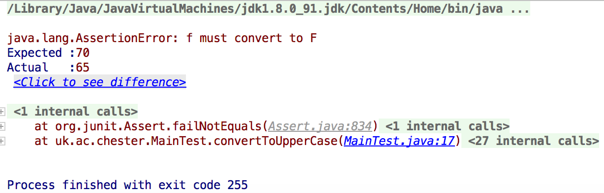 IntelliJ IDEA failed test output