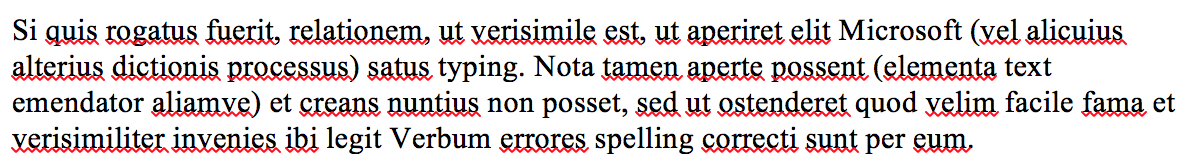 Latin text in a word processor showing spelling mistakes