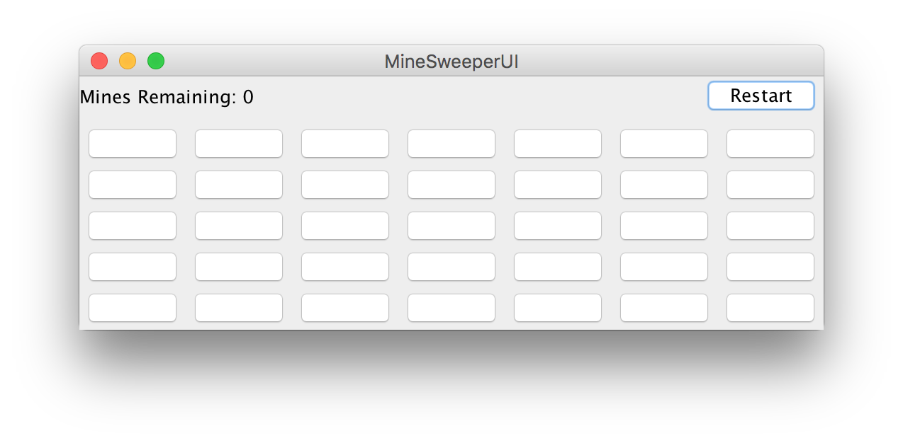 Completed Java Swing UI for a minesweeper game