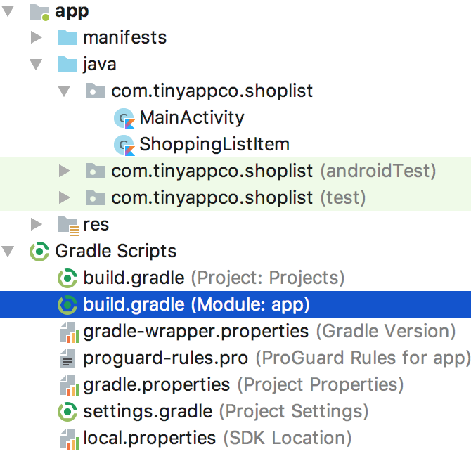screenshot of build.gradle file for the module being selected