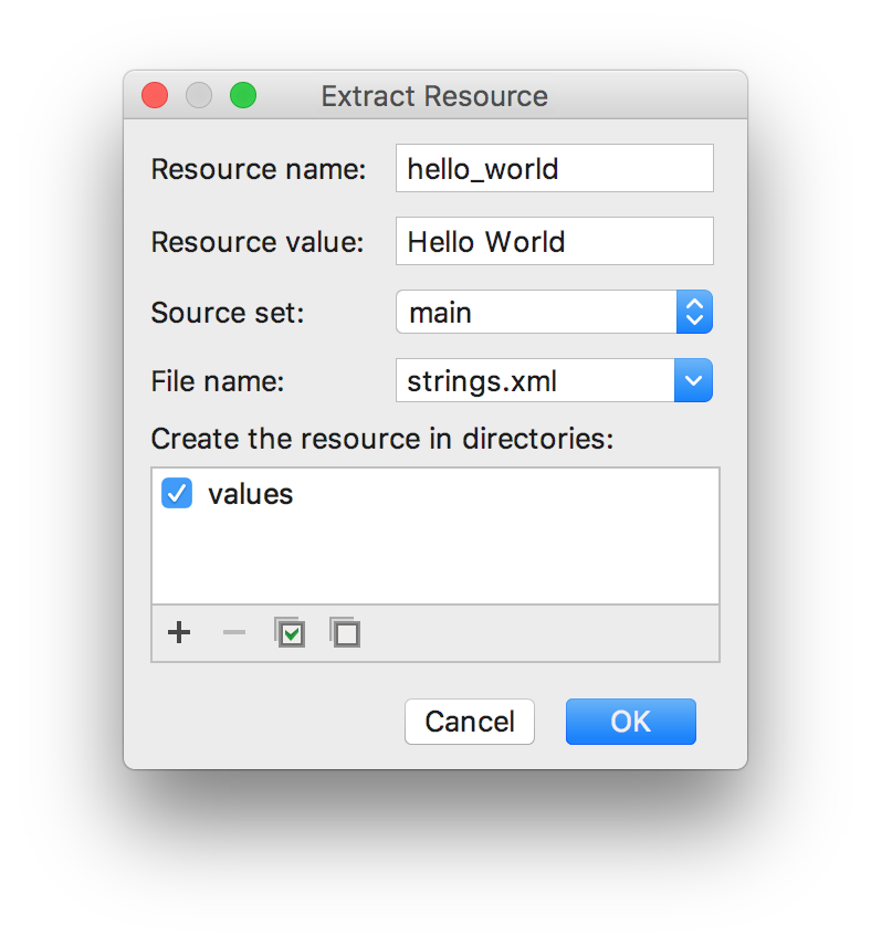 Extract String resource dialog box