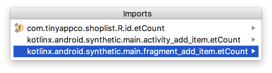 selecting the correct import statement - choosing the fragment version
