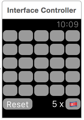 WatchKit interface with 5x5 grid of buttons, reset button, flag button and label showing how many flags remaining