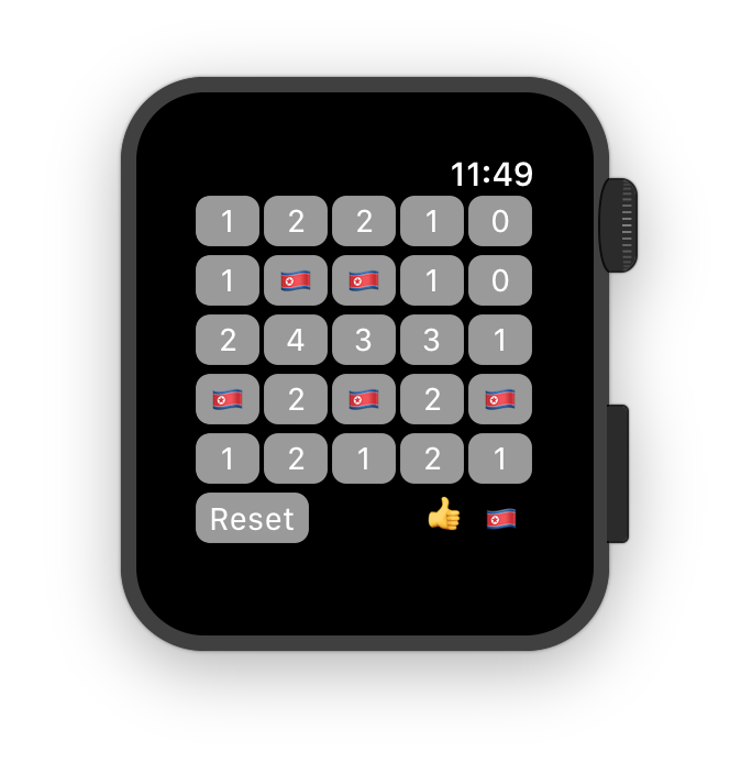 Minesweeper for WatchOS running in the WatchOS simulator