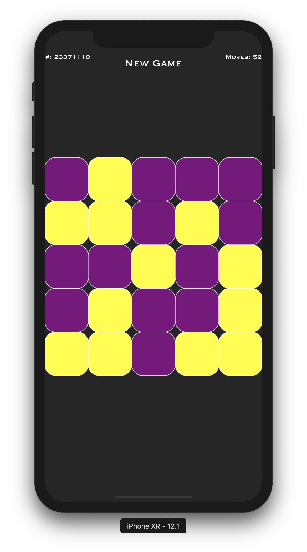 Lights out SpriteKit game on iPhone XR